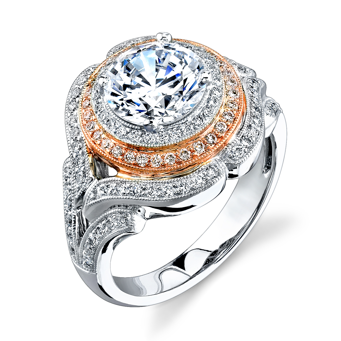 Vintage Style Simon G Halo Engagement Ring With Micro Pave