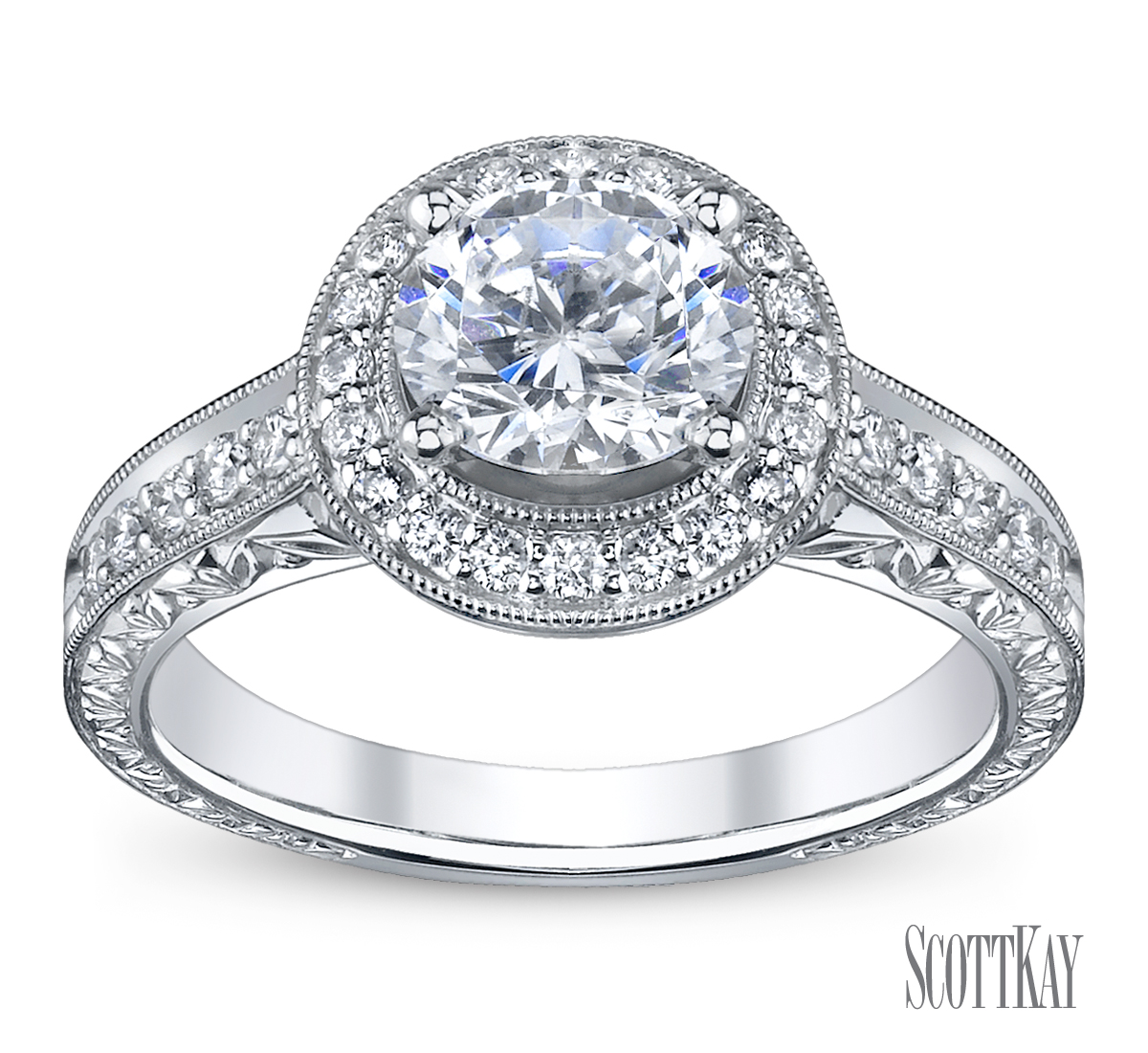 Halo diamond engagement ring robbins brothers engagement for Diamond wedding ring images